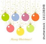 christmas baubles hanging.... | Shutterstock .eps vector #161138348