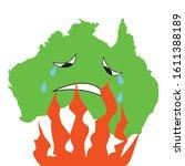 australia green silhoette. sad... | Shutterstock .eps vector #1611388189