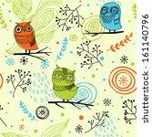 cute seamless owl pattern | Shutterstock .eps vector #161140796