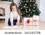 little girl writes letter to... | Shutterstock . vector #161142758