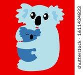 koala with cub fears from ... | Shutterstock .eps vector #1611434833