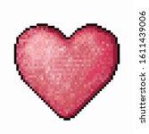 pink romantic pixel heart sign... | Shutterstock .eps vector #1611439006
