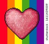 pink romantic pixel heart sign... | Shutterstock .eps vector #1611439009
