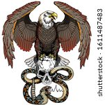 Eagle  Human Skull And Snake....