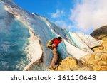 hike in Norway mountains,Svartisen Glacier - stock photo
