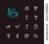 cocktails icons set. beer mug...