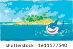 Funny great white shark insidiously smiling and swimming in blue water of a tropical sea near a beautiful palm island, vector cartoon illustration