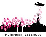 airplane flying over the city...   Shutterstock .eps vector #161158898