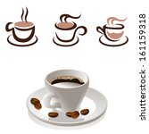 coffee cup and coffee beans  ... | Shutterstock .eps vector #161159318