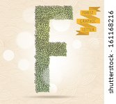 the letter f. bright floral... | Shutterstock .eps vector #161168216
