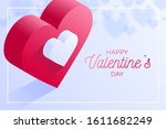 happy valentine day red love... | Shutterstock .eps vector #1611682249