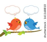 Communication. Vector illustration of two little birds communicating with each other. - stock vector