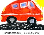 red car and sun. child's... | Shutterstock . vector #161169149