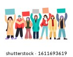 crowd of people holding banner. ... | Shutterstock .eps vector #1611693619