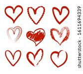 hand drawn heart icon in red... | Shutterstock .eps vector #1611694339