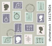 vintage postage stamps set on... | Shutterstock .eps vector #161176826