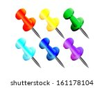 pushpins of various colors on a ... | Shutterstock .eps vector #161178104
