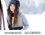 young woman winter portrait.... | Shutterstock . vector #161180003