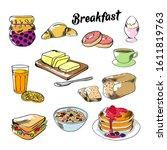 breakfast food illustrations... | Shutterstock .eps vector #1611819763