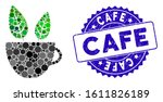 mosaic vegan cafe icon and... | Shutterstock .eps vector #1611826189
