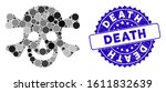 mosaic death icon and rubber... | Shutterstock .eps vector #1611832639