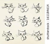hand drawn grumpy cats vector... | Shutterstock .eps vector #161184614