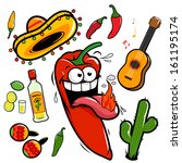 A collection of a hot mariachi chili pepper cartoon and Mexican themed illustrations: A guitar, tequila, lime, cactus, chili peppers and maracas.