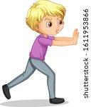 boy pushing wall on white...   Shutterstock .eps vector #1611953866
