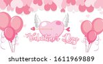 valentine theme with pink... | Shutterstock .eps vector #1611969889