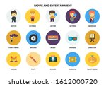 entertainment icons set for... | Shutterstock .eps vector #1612000720