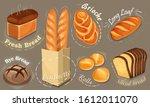 vector bread icons set. long...   Shutterstock .eps vector #1612011070