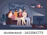 friends watching horror movie... | Shutterstock . vector #1612061773