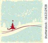 christmas tree in winter... | Shutterstock .eps vector #161212928