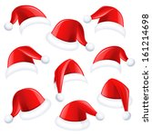 Set Of Red Santa Hats