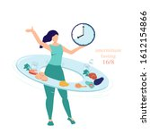 intermittent fasting concept 16 ... | Shutterstock .eps vector #1612154866