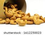 cashew nut in brown box... | Shutterstock . vector #1612250023