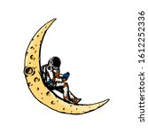 spaceman on the moon. astronaut ... | Shutterstock .eps vector #1612252336