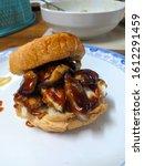 Small photo of shitake zinger burger with bbq sauce