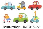 cute animals on transport....   Shutterstock . vector #1612314679