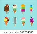 vector ice cream set in flat... | Shutterstock .eps vector #161233508