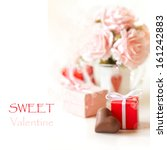 sweet heart chocolate and roses ... | Shutterstock . vector #161242883