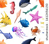 sea and ocean fish seamless... | Shutterstock .eps vector #1612456150