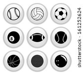 sports balls icons glossy white ... | Shutterstock .eps vector #161252624