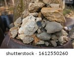 YONGIN, SOUTH KOREA - JANUARY 10, 2020: A stack of rocks