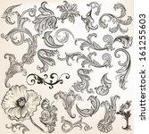 vector set of calligraphic... | Shutterstock .eps vector #161255603