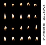 Candle Flame Set Isolated Over...