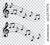 set of music notes on wave ...   Shutterstock .eps vector #1612579570