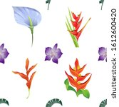 Green Palm Leaf. Purple Orchid...