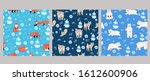 set of seamless patterns with... | Shutterstock .eps vector #1612600906