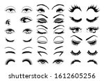 eyelashes vector set collection ...   Shutterstock .eps vector #1612605256